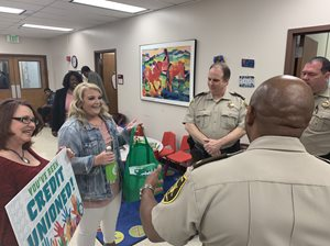 Mia Robinson and Hope Finley surprised school resource officers.